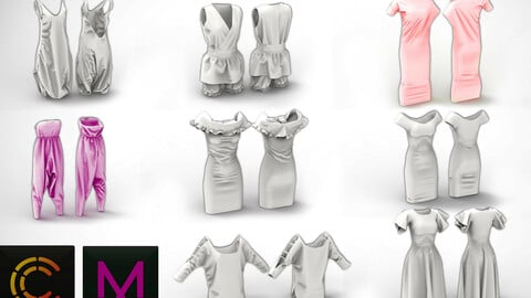 8 new collection Dresses MD / Clo3D