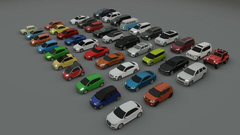collection of 40 low poly cars