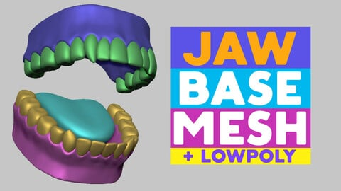 Jaw base mesh + lowpoly with UV map