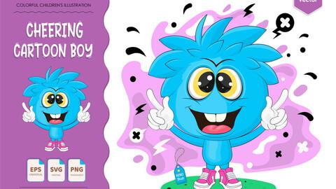 Cheering Cartoon Boy