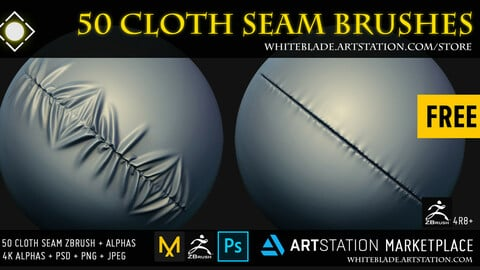 Cloth Seam Brushes + 4K Alphas - ZBrush 4R8+  FREE