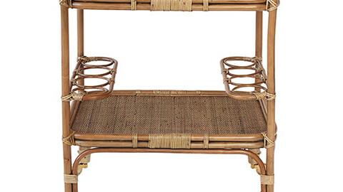 wooden rattan shelf