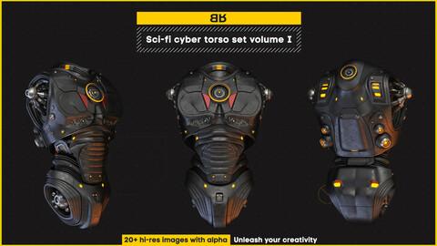 Sci-fi cyber torso images set volume I