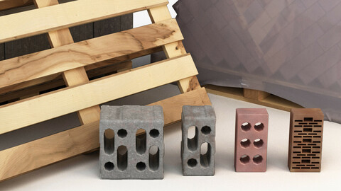 Set of bricks of different sizes and materials