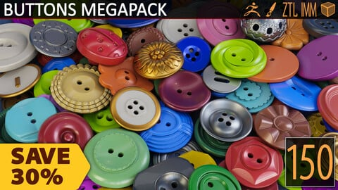 BUTTONS FASTENERS IMM BRUSH MEGAPACK