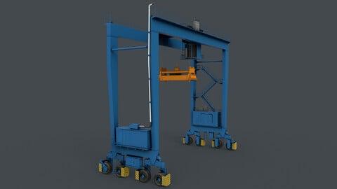 PBR Rubber Tyred Gantry Crane RTG V1 - Blue Light