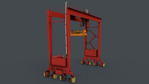 PBR Rubber Tyred Gantry Crane RTG V1 - Red
