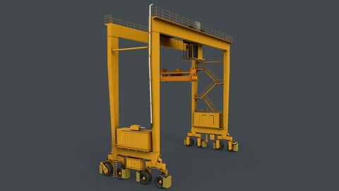 PBR Rubber Tyred Gantry Crane RTG V1 - Yellow