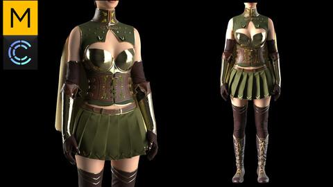 Women's Medieval Fantasy Elf Armor. Marvelous Designer, Clo3d project + OBJ/FBX files. Standard avatar MD&CLO.(9)