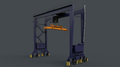 PBR Rubber Tyred Gantry Crane RTG V2 - Blue Dark