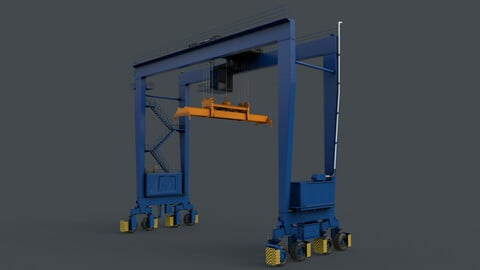 PBR Rubber Tyred Gantry Crane RTG V2  - Blue