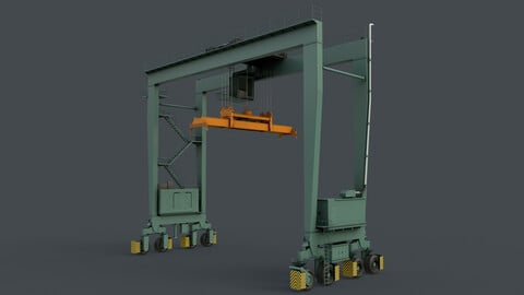PBR Rubber Tyred Gantry Crane RTG V2 - Green Light