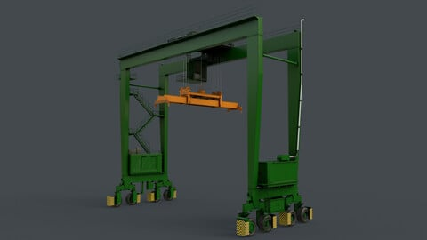 PBR Rubber Tyred Gantry Crane RTG V2 - Green