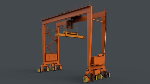 PBR Rubber Tyred Gantry Crane RTG V2 - Orange