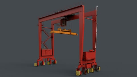 PBR Rubber Tyred Gantry Crane RTG V2 - Red