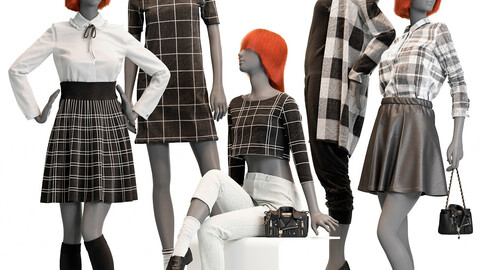 Female mannequins with clothes