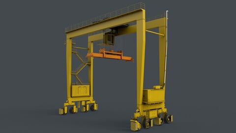 PBR Rubber Tyred Gantry Crane RTG V2 - Yellow Light