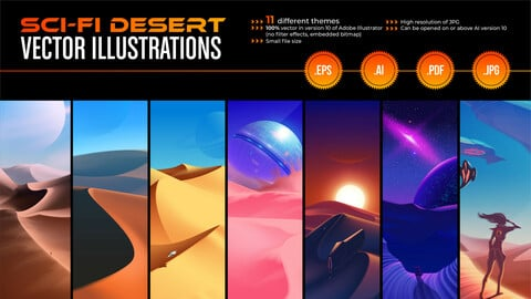 Vector Illustration for Sci-Fi Desert Art