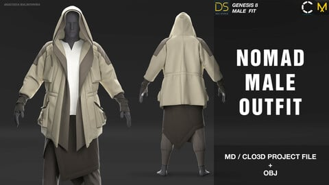Nomad male outfit.  MD/CLO3D+OBJ