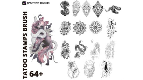 Procreate 64 Tattoo Stamps Brushes, Tattoo stamp brushes for Procreate, High quality handmade stamps, fun fillers.