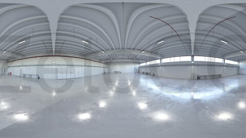 HDRI - Industrial Hangar Hall Interior 6b - 2 versions