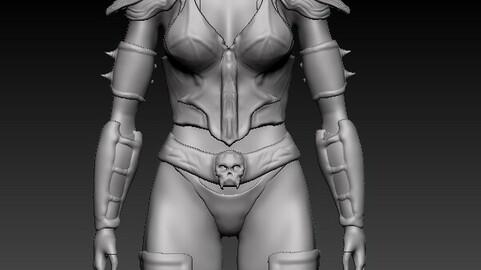 Hot Female Warrior Game Ready