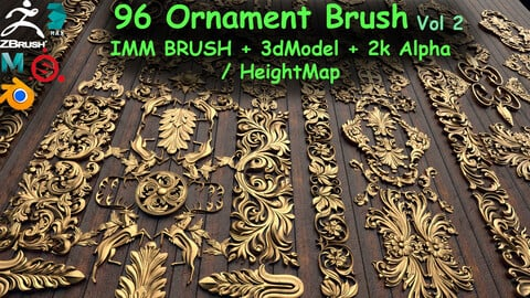 Fred's 96 Ornament Brushes & 3dmodel & KitBash Vol 2