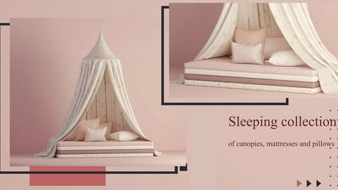 Sleeping collection of canopies, mattresses and pillows