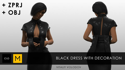 BLACK DRESS WITH DECORATION | Clo3d, Marvelous designer projects