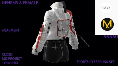 GENESIS 8 FEMALE: SPORTS CYBERPUNK SET: CLO3D, MARVELOUS DESIGNER PROJECTS+GARMENT| +OBJ +FBX