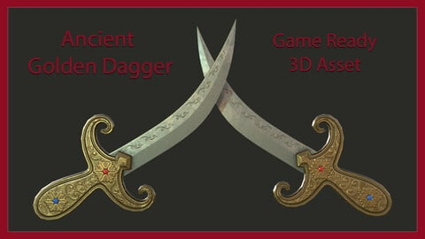 Ancient Golden Dagger -  Game Ready 3D Asset with Unity, Unreal Engine Textures