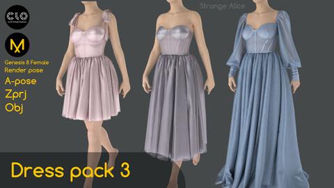 Dress pack 3. Clo3d, Marvelous Designer projects.