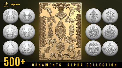 500+ ornament alphas | Tracery  decorations | Stencils 3dcoat & Zbrush