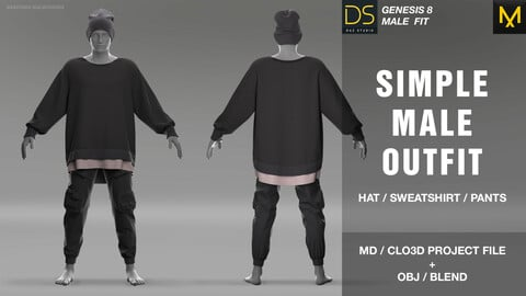 Simple male outfit. MD + OBJ + BLEND