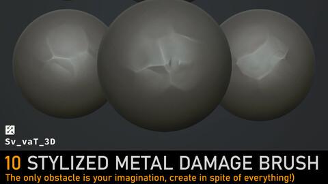 10 Stylized metal damage brush