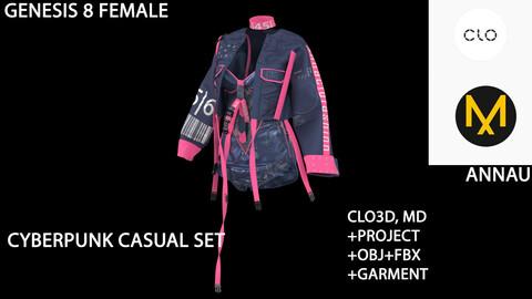 GENESIS 8 FEMALE: CYBERPUNK CASUAL SET: CLO3D, MARVELOUS DESIGNER PROJECT+GARMENT  +OBJ +FBX