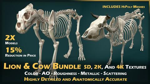 Lion & Cow Skeleton Bundle