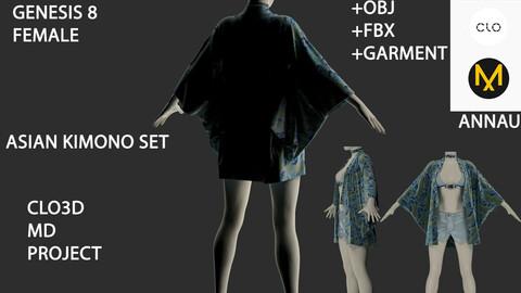 GENESIS 8 FEMALE: ASIAN KIMONO SET #2: CASUAL: CLO3D, MARVELOUS DESIGNER PROJECT+ GARMENT| +OBJ +FBX