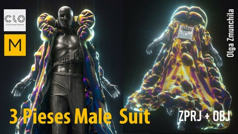 Three pieses male suit  - inflated collar coat, vest-bag with pocets , classic trousers/ Clo3d, MD projects +OBJ