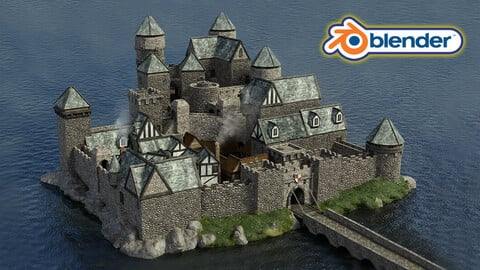 Blender 2.9 Modular Pack Medieval Castle Keep Kitbash Set