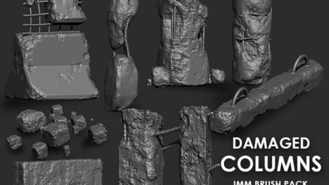 Damaged Concrete Columns IMM Brush Pack (8 in One)