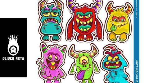 Cartoon Cute Monsters collection Vector