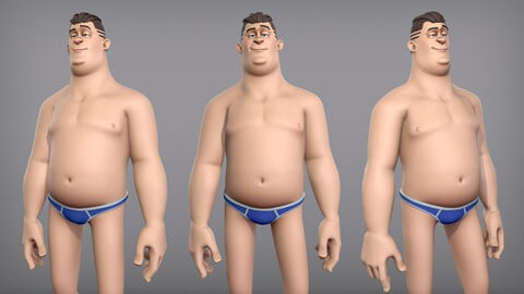 Cartoon male character Eugene base mesh