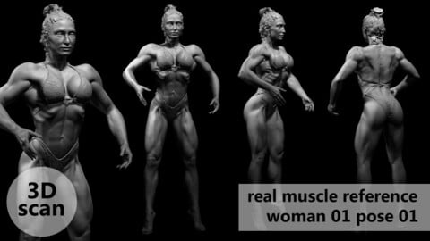3D scan real muscleanatomy Woman01 pose 01
