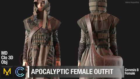 Apocalyptic female outfit / Marvelous Designer / Clo 3D project + obj
