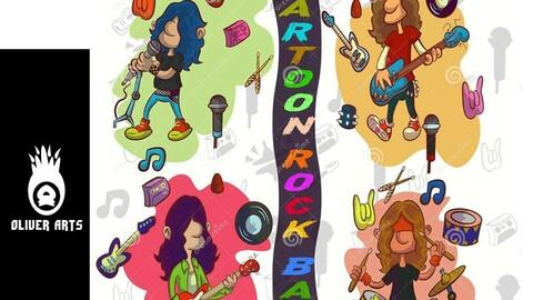 Cartoon Rock Band music art vector rock n roll
