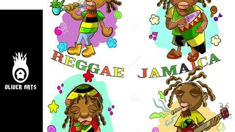CARTOON THE BEST REGGAE IN JAMAICA VECTOR