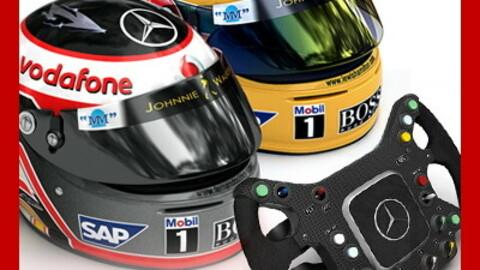 F1 2007 McLaren Mercedes Helmets and Steering Wheel