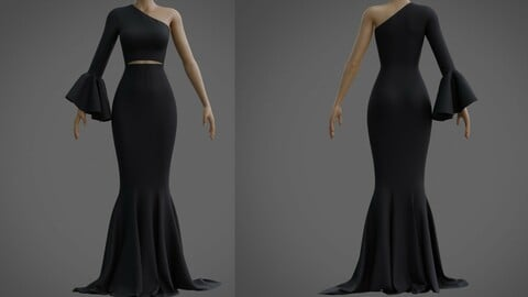 3d Black mermaid gown - prom dress with ruffled sleeve