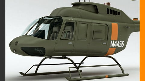 Helicopter Military Bell 206L with Interior